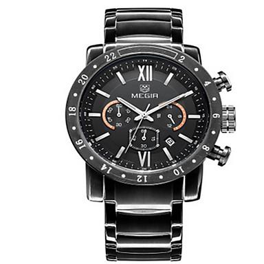 Herren Kleideruhr Quartz LED / Kalender / Armbanduhren für den Alltag / Stopuhr Edelstahl Band Silber Marke
