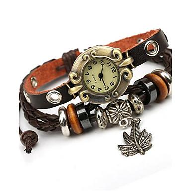 Damen digital Armband-Uhr Modeuhr Leder Band Böhmische Braun