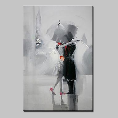 Hang malte oljemaleri Håndmalte - Mennesker Moderne Lerret