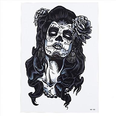 8db hosszú haj koponya szépség szépe virág design cosplay ideiglenes nők férfiak élesíti derék body art tetoválás matricát mindenszentek