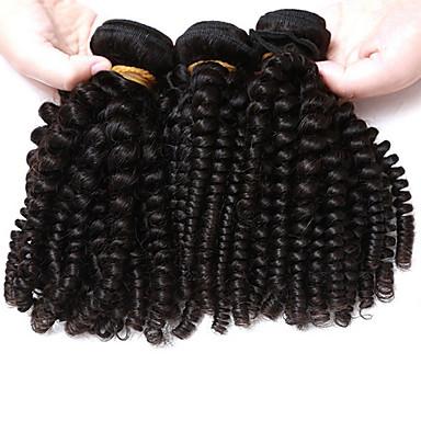baratos Extensões de Cabelo Natural-3 pacotes Cabelo Brasileiro Kinky Curly Weave Curly 10A Cabelo Virgem Cabelo Humano Ondulado Tramas de cabelo humano Extensões de cabelo humano / Crespo Cacheado