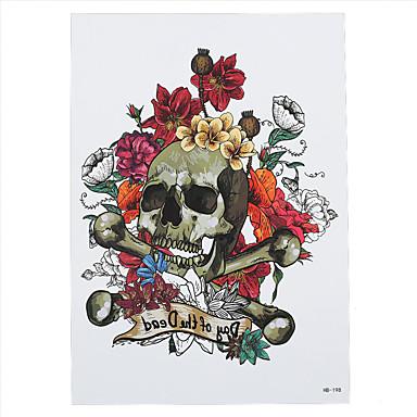 8pcs wasserdichte gefälschte temporäre Tätowierung Aufkleber Blume Tod Schädel Körper Schulter Kunst Tattoo für Frauen Männer neue Ankunft