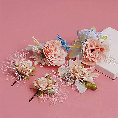 Damen Legierung Stoff Kopfschmuck-Hochzeit Besondere Anlässe im Freien Blumen Haarclip 5 Stück
