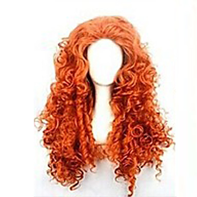 Synthetic Wig Curly Asymmetrical Haircut Synthetic Hair Natural Hairline Red Wig Women's Long Capless