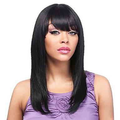 재고 스트레이트 앞머리와 10-30inch 실크 전면 여성을위한 100 % 브라질 처녀 인간의 머리카락 U 부분 가발 가발 레이스