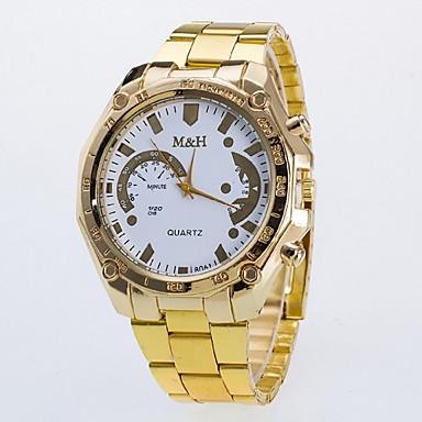 Masculino Mulheres Casal Relógio de Moda Quartzo Relógio Casual Lega Banda Dourada Branco Dourado