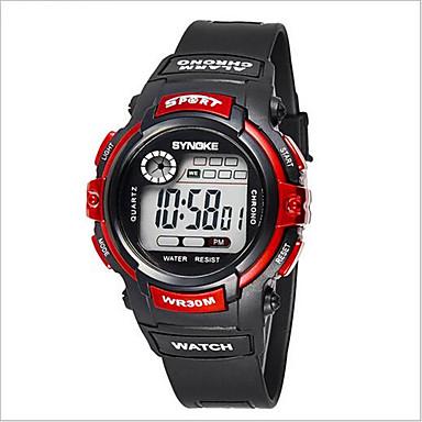 SYNOKE Infantil Relógio Esportivo Relógio de Pulso Digital LCD Calendário Cronógrafo Impermeável alarme Luminoso Borracha Banda Preta