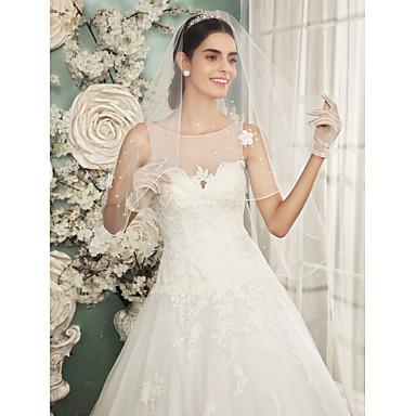 Menyasszonyi fátyol Egykapcsos Könyékig érő fátylak Csipke szegély Tüll Csipke Elefántcsontszín