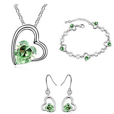 סט תכשיטים אחרים סטי תכשיטי כלה קריסטל אהבה אבני מזלות קריסטל ורד ירוק כחול שרשראות עגילים ל חתונה Party 1set מתנות חתונה