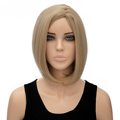 Damen Synthetische Perücken Kappenlos Kurz Glatt Blondine Kostüm Perücken