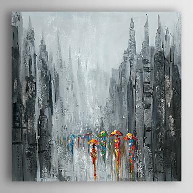 pintados à mão pintura a óleo pedestres paisagem andar na rua ii, com quadro esticado arts® 7 parede