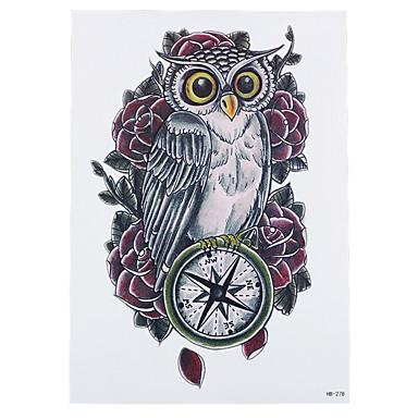 8pcs nette Kompass Eule Rosenwasser Transfer Farbe Tätowierung temporäre Frauen Körperkunst Tattoo-Aufkleber faszinierende Blumenart