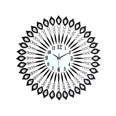 Kreisförmig / Neuheit Modern/Zeitgenössisch Wanduhr,Landschaften Kristall / Glas / Metall 60 x 60cm(24 x 24inch)
