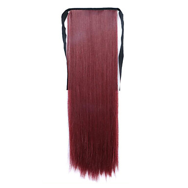 rød lengde 60cm syntetisk bind typen lang rett hår parykk kjerringrokk (farge bug)