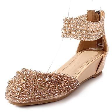 Feminino Sapatos Couro Materiais Customizados Primavera Verão Anabela Gliter com Brilho Ziper Para Casamento Social Festas & Noite Amêndoa