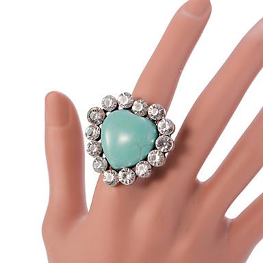 Anéis Fashion / Vintage / Ajustável Pesta / Diário / Casual Jóias Liga / Turquesa Feminino Anéis Statement 1pç,Ajustável Prateado