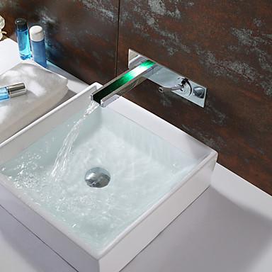 עכשווי מותקן על הקיר מפל מים LED שסתום קרמי שני חורי ידית אחת כרום, חדר רחצה כיור ברז