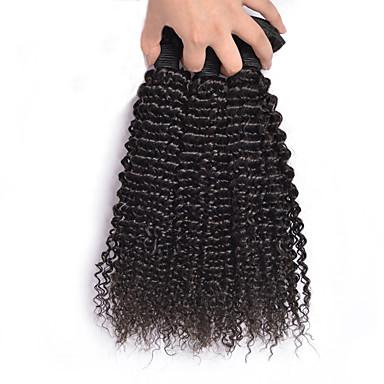 Emberi haj Maláj haj Az emberi haj sző Kinky Curly Göndör fürtök Póthajak 3 darab Fekete