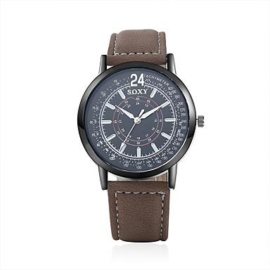 Herren Armbanduhr Armbanduhren für den Alltag Quartz Leder Band Braun