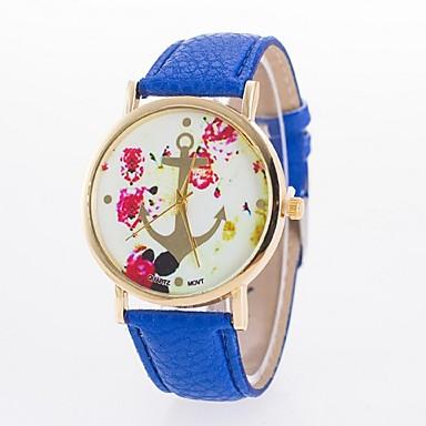 Damen Modeuhr Quartz Armbanduhren für den Alltag PU Band Blume Schwarz Weiß Blau Rot Braun Rosa Rose Rose Rot Blau Rosa Leicht Grün