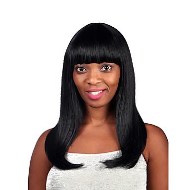 naturlig lang svart farge fremhever syntetisk parykk for kvinne