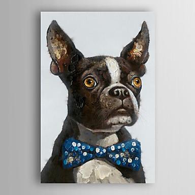 handgemaltes Ölgemälde Tier tux Terrier mit gestreckten Rahmen 7 Wand ARTS®