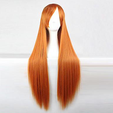 povoljno Perike i ekstenzije-Sintetičke perike Ravan kroj Stil Asimetrična frizura Capless Perika Zlatna Zlatno žuta Sintentička kosa 28 inch Žene Prirodna linija za kosu Zlatna Perika Dug