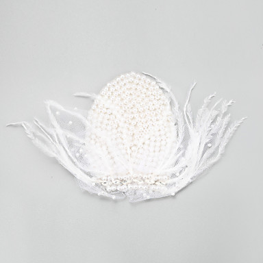 נשים נערת פרחים נוצה סגסוגת דמוי פנינה כיסוי ראש-חתונה אירוע מיוחד קישוטי שיער חלק 1