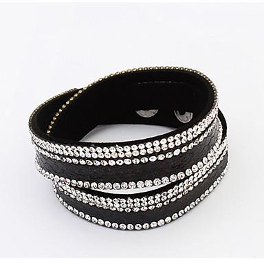 צמידים צמידי גלישה עור / אבן נוצצת חתונה / Party / יומי / קזו'אל תכשיטים מתנות קפה / שחור / לבן / כחול / אפור,1pc