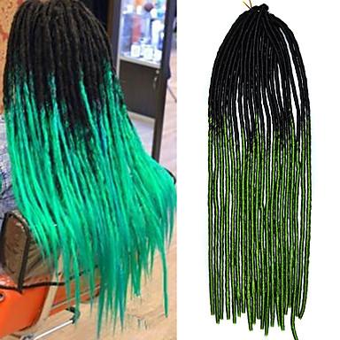 20inch kanekalon tresses souples senegalese dread locks tressages synthétiques cheveux noirs vert ombré
