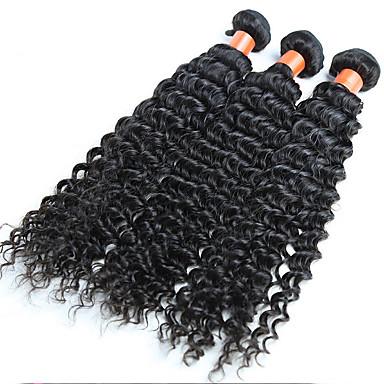 Tissages de cheveux humains Cheveux Indiens Ondulation profonde 18 Mois 3 Pièces tissages de cheveux