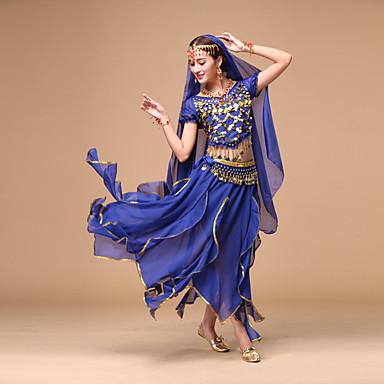 roupas de dança do ventre vestuário feminino rendas de chiffon 4 peças de trajes de dança por we are®
