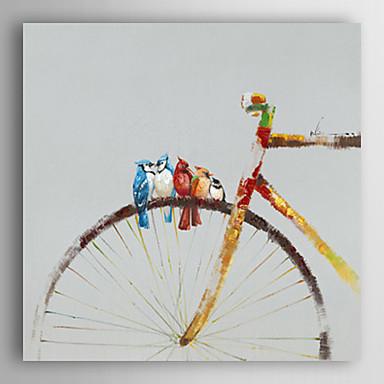 pintura a óleo pássaros animais pintados à mão ficar com a moto, com quadro esticado