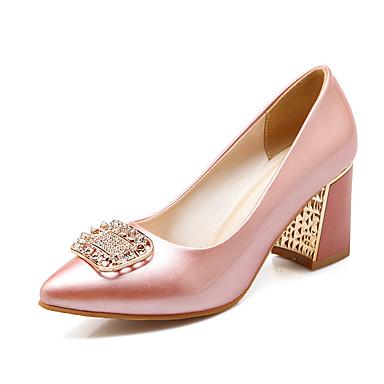 Magassarkú / Kényelmes / Hegyes orrú-Vastag-Női cipő-Magassarkú-Irodai / Alkalmi-Lakkbőr / PU-Kék / Rózsaszín / Fehér / Bézs