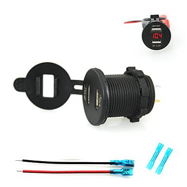 iztoss 2.1a& 2.1a dual usb oplader mobiltelefon opladeren stikkontakt med voltmeter lys og 15cm ledninger