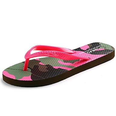 DamenLässig-Kunststoff-Flacher Absatz-Flip - Flops / Vorne offener Schuh-Gelb / Rot / Beige