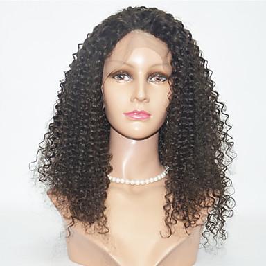 Naisten Synteettiset pitsireunan peruukit Kinky Curly Jet Black Musta Tummanruskea Luonnollinen hiusviiva Luonnollinen peruukki Halloween