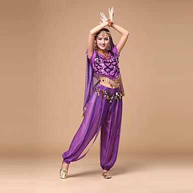 Dança do Ventre Roupa Mulheres Espetáculo Chiffon Lantejoulas Manga Curta Natural Blusa Calças Decoração de Cabelo