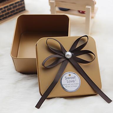 Cubique Métal Titulaire de Faveur avec Noeud Ruban Boîtes Cadeaux - 6
