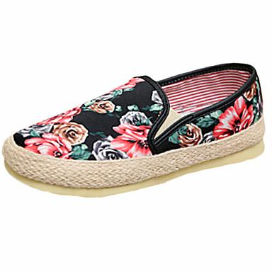 Kényelmes-Lapos-Női cipő-Mokaszinek-Alkalmi-Vászon-Fekete / Szürke