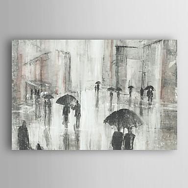 handgemaltes Ölgemälde Landschaft abstrakten Menschen zu Fuß in regen mit gestreckten Rahmen 7 Wand ARTS®