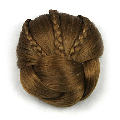 excêntricas encaracolados chignons marrom europa noiva cabelo humano sem tampa perucas dh104 2005