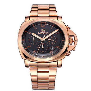 Herren Armbanduhr Quartz Armbanduhren für den Alltag Edelstahl Band Schwarz Marke