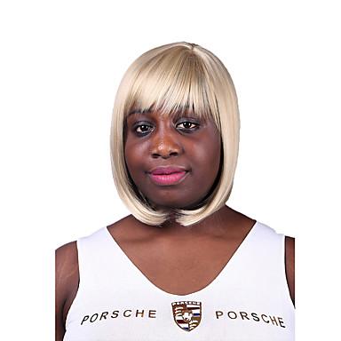 naturel perruque synthétique cheveux raides capless blond couleur de longueur moyenne de haute qualité avec plein boum