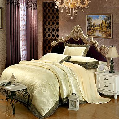 Bettbezug-Sets Blumen 4 Stück Modal lyocell Jacquard Modal lyocell 1 Stk. Bettdeckenbezug 2 Stk. Kissenbezüge 1 Stk. Betttuch