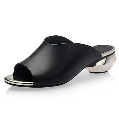 נשים נעליים שיער עגל אביב קיץ עקב עבה ל קזו'אל שמלה לבן שחור