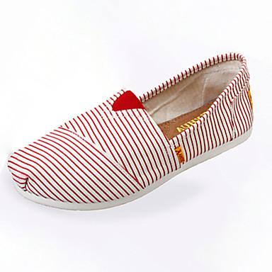 Kényelmes-Lapos-Női cipő-Mokaszinek-Alkalmi-Szövet-Kék / Piros