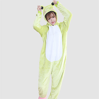Kigurumi-pyjamas Frø Onesie-pyjamas Kostume Koralfleece Grøn Cosplay Til Voksne Nattøj Med Dyr Tegneserie Halloween Festival / Højtider