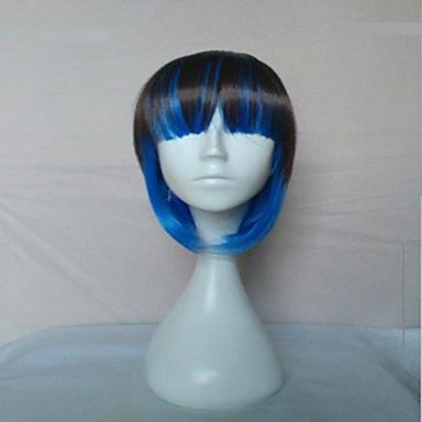 Mulher Perucas sintéticas Sem Touca Liso Azul Corte Bob Perucas para Fantasia