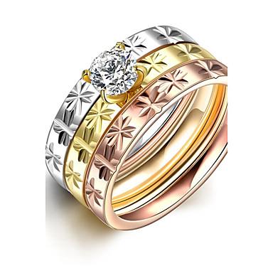 Ring Statement-Ring Bandring Verschiedene Farben Zirkon versilbert vergoldet Titanstahl Stahl Kreuz Quaste Niedlich Party Büro Freizeit